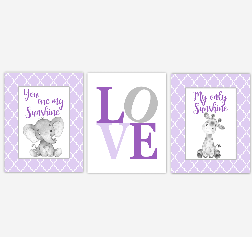 Safari Animals Baby Girl Nursery Wall Art Elephant Giraffe Purple Baby Nursery Pictures Baby Nursery Decor SET OF 3 UNFRAMED PRINTS