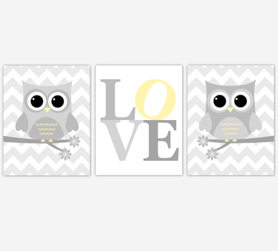 Owl Baby Boy Nursery Wall Art Yellow Gray Boy Nursery Decor Owl Pictures Baby Nursery Decor SET OF 3 UNFRAMED PRINTS