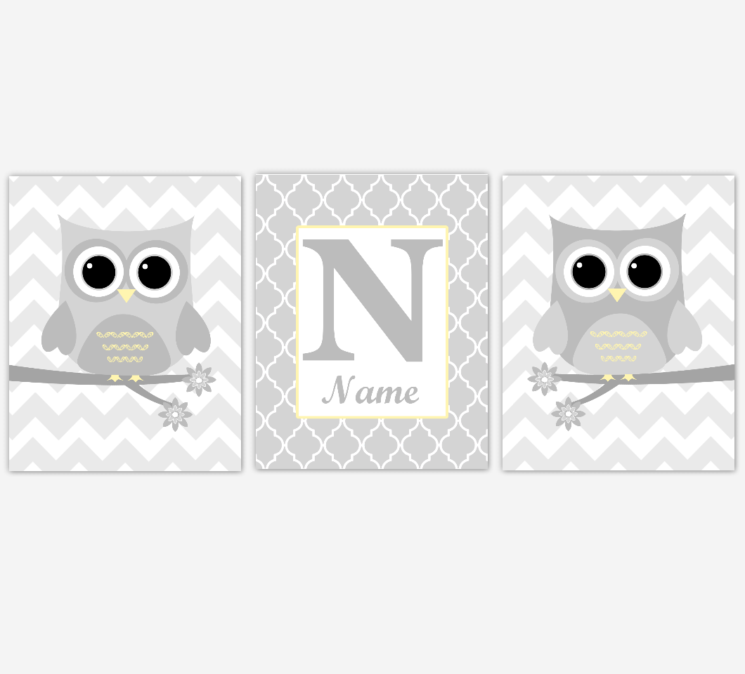 Owl Baby Boy Nursery Wall Art Yellow Gray Boy Nursery Decor Owl Pictures Personalized Baby Nursery Decor SET OF 3 UNFRAMED PRINTS