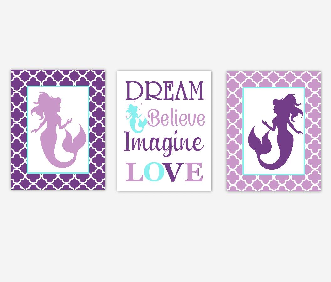 Mermaid Baby Girl Nursery Art Purple Aqua Teal Dream Believe Imagine LOVE Baby Nursery Decor Girl Bedroom Inspirational Quotes SET OF 3 UNFRAMED PRINTS