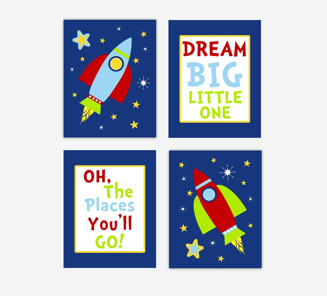 Baby Boy Nursery Wall Art Space Theme Rocket Ship Spaceship Personalized Name Dream Big Little One Baby Nursery Decor SET OF 4 UNFRAMED PRINTS