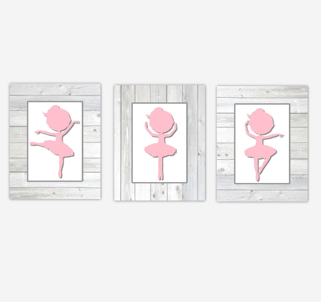 Ballerina Baby Girl Nursery Art Pink Gray Rustic Wood Farmhouse Style Prints Toddler Girl Bedroom Baby Nursery Decor SET OF 3 UNFRAMED PRINTS