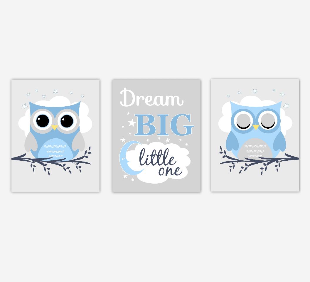 Baby Boy Nursery Art Owls Blue Gray Dream Big Little One Nursery Prints Baby Nursery Decor