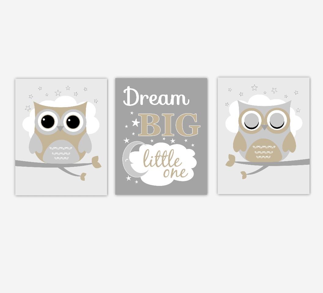 Baby Boy Nursery Art Owls Dream Big Little One Nursery Prints Baby Nursery Decor