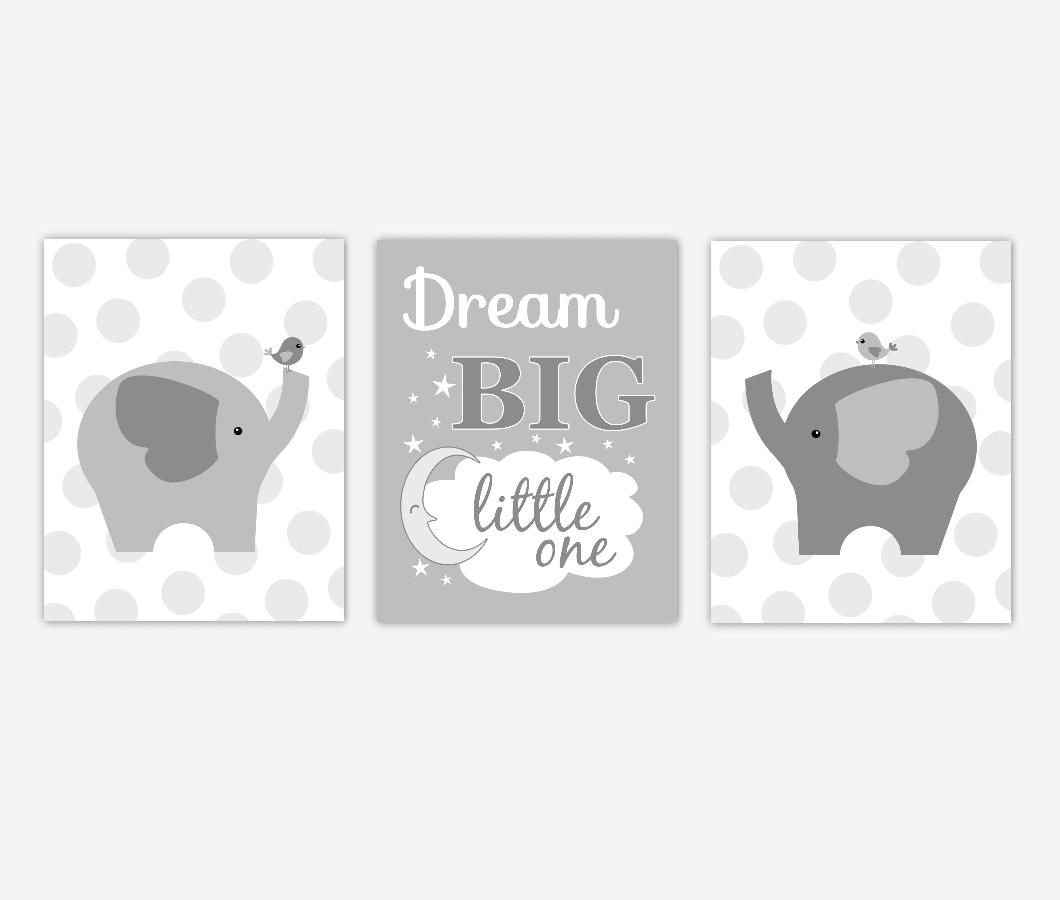 Baby Boy Nursery Wall Art Elephants Gray Polka Dots Dream Big Little One Baby Nursery Decor  SET OF 3 UNFRAMED PRINTS