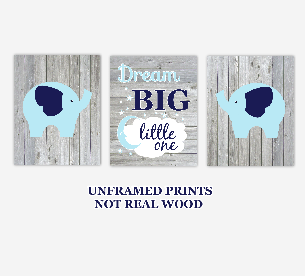 Baby Boy Nursery Wall Art Navy Blue Elephants Dream Big Little One Rustic Farmhouse Style Baby Nursery Decor SET OF 3 UNFRAMED PRINTS