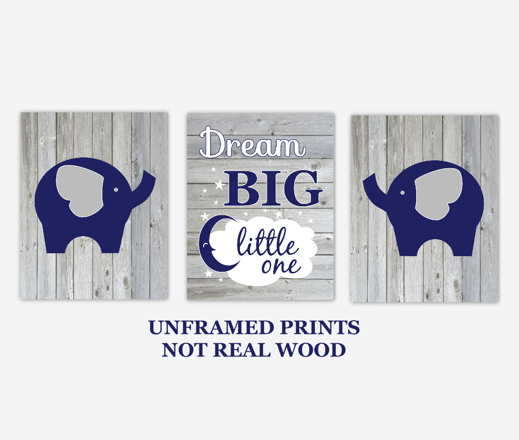 Baby Boy Nursery Wall Art Navy Blue Elephants Dream Big Little One Rustic Farmhouse Style Baby Nursery Decor SET OF 3 UNFRAMED PRINTS