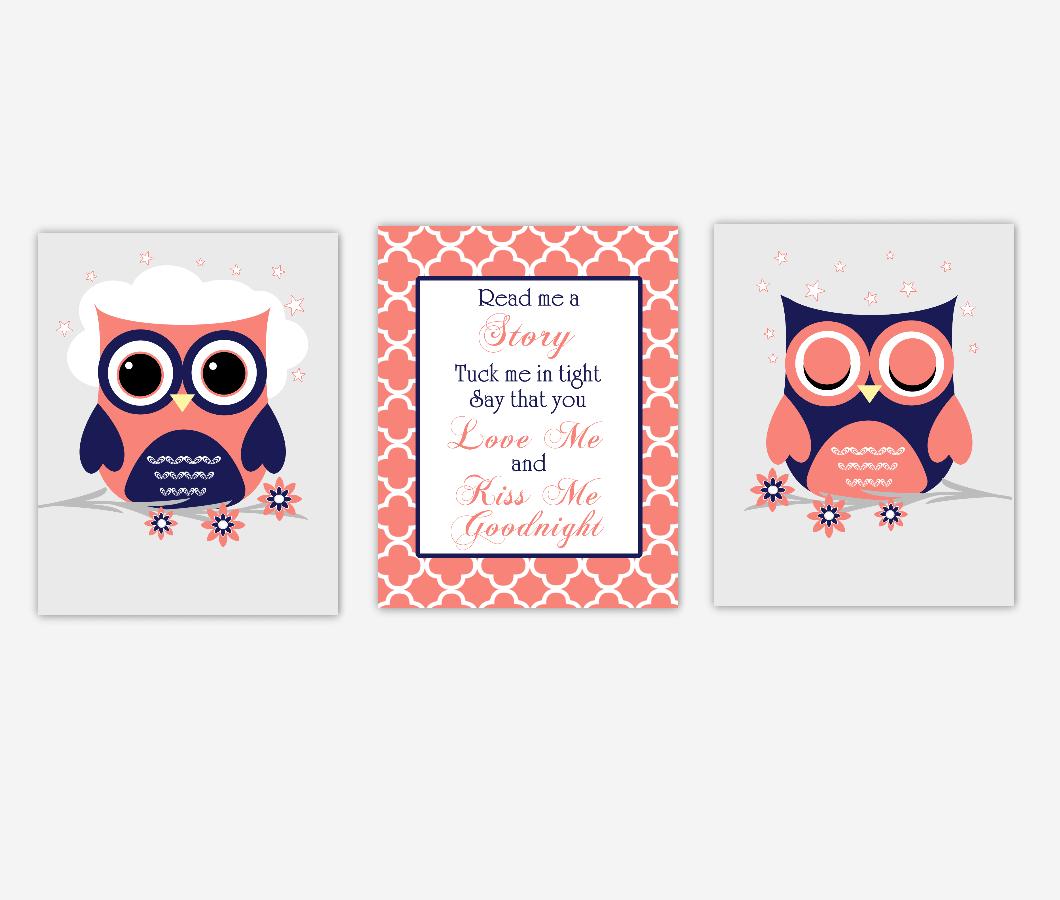 Baby Girl Nursery Art Coral Navy Blue Owls Read Me A Story Print Baby Nursery Decor SET OF 3 UNFRAMED PRINTS