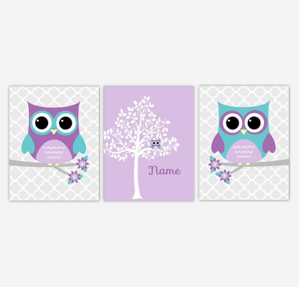 Baby Girl Nursery Art Owl Purple Lavender Teal Aqua Silhouette Tree Personalize Name Art Owls Grey Chevron Decor SET OF 3 UNFRAMED PRINTS