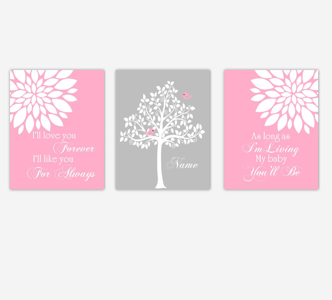 Baby Girl Nursery Wall Art Pink Gray Flowers Mums Dahlia Bursts Personalized Name Print Baby Nursery Decor SET OF 3 UNFRAMED PRINTS