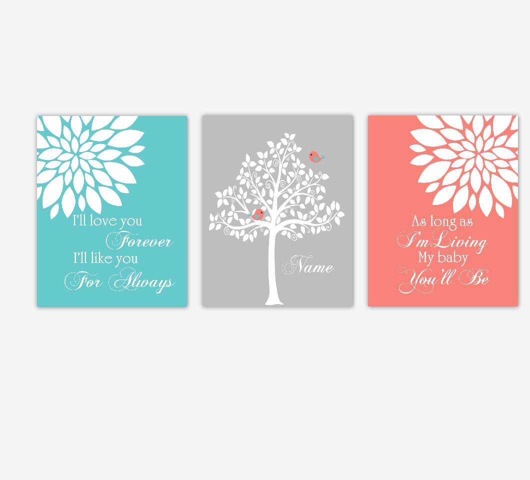Baby Girl Nursery Wall Art Coral Teal Flowers Mums Dahlia Bursts Personalized Name Print Baby Nursery Decor SET OF 3 UNFRAMED PRINTS