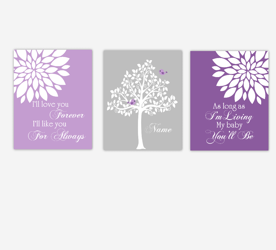 Baby Girl Nursery Wall Art Purple Gray Lavender Flowers Mums Dahlia Bursts Personalized Name Print Baby Nursery Decor SET OF 3 UNFRAMED PRINTS