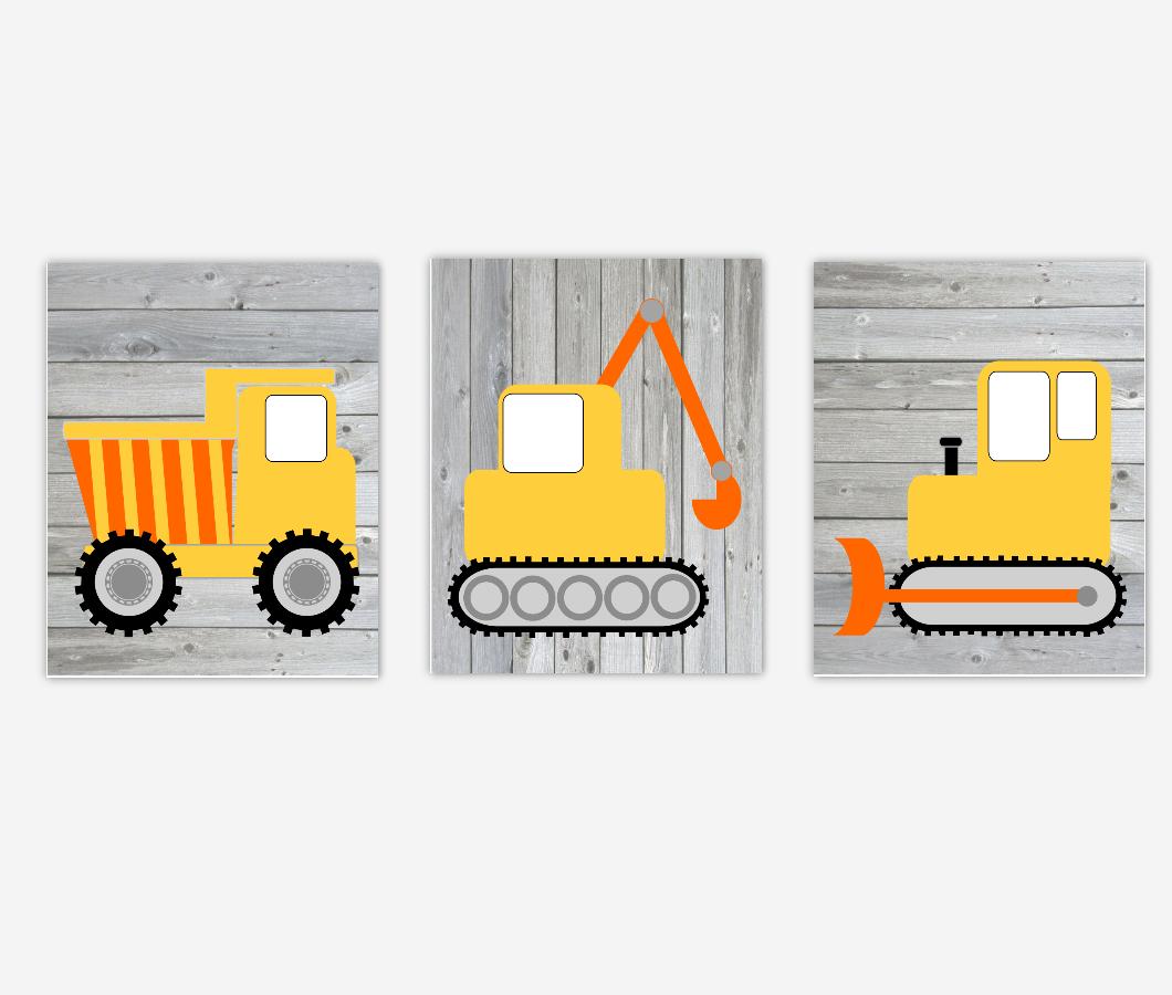 Construction Truck Baby Boy Nursery Wall Art Toddler Rustic Farmhouse Style Baby Nursery Decor Playroom SET OF 3 UNFRAMED PRINTS