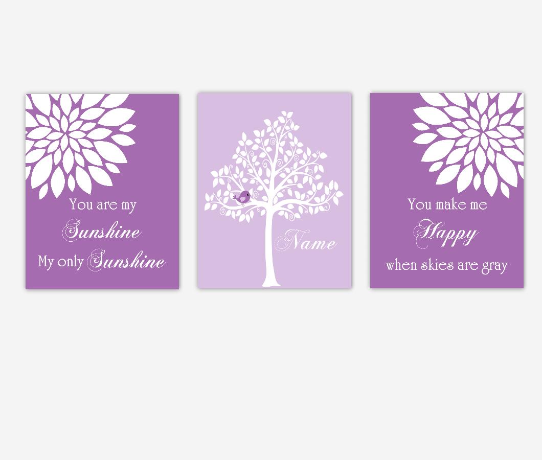 Baby Girl Nursery Wall Art Purple Flowers Mums Dahlia Bursts You Are My Sunshine Personalized Name Print Baby Nursery Decor SET OF 3 UNFRAMED PRINTS