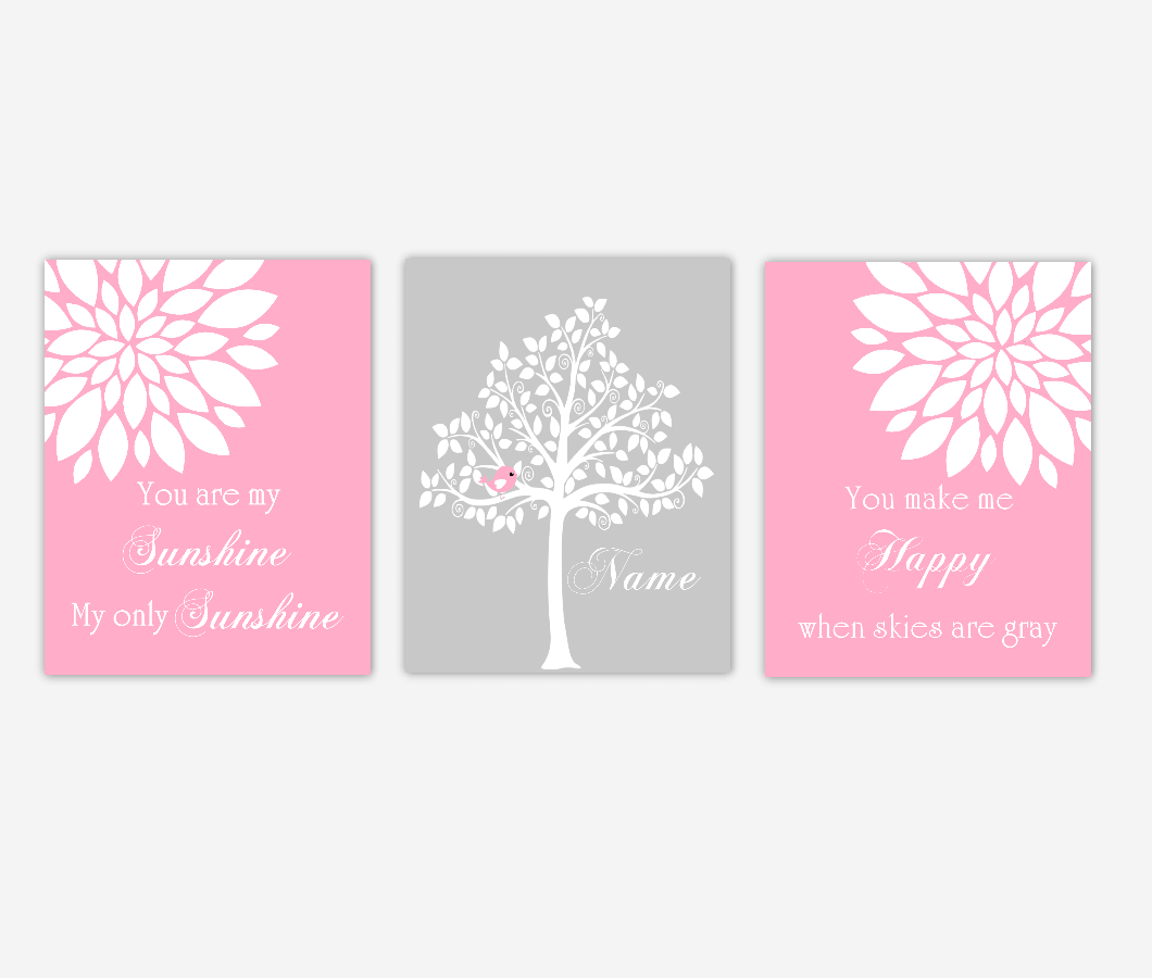 Baby Girl Nursery Wall Art Pink Gray Flowers Mums Dahlia Bursts You Are My Sunshine Personalized Name Print Baby Nursery Decor SET OF 3 UNFRAMED PRINTS