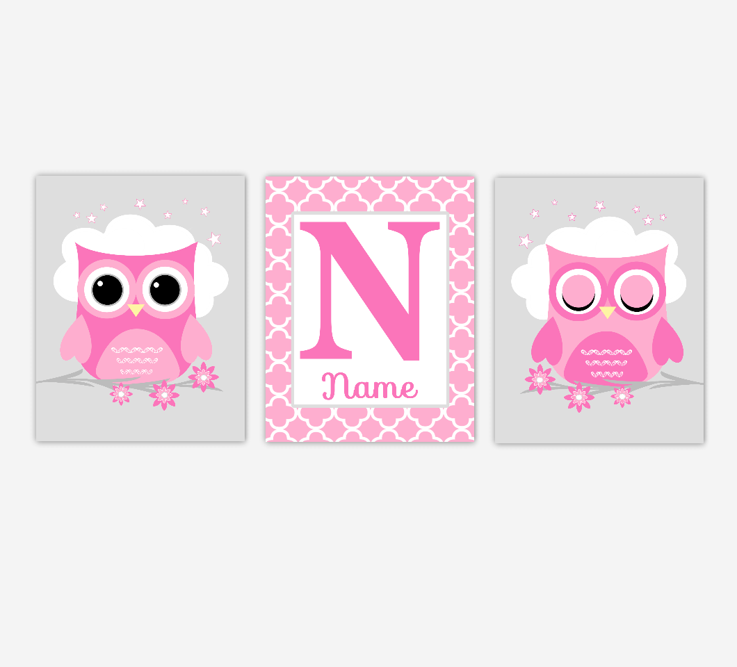 Baby Girl Nursery Wall Art Pink Gray Owls Personalized Name Prints Baby Nursery Decor SET OF 3 UNFRAMED PRINTS