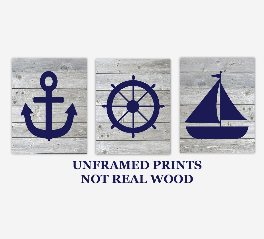 Nautical Baby Boy Nursery Wall Art Navy Blue Gray Rustic Wood Farmhouse Sailboat Anchor Captains Wheel Bath Prints SET OF 3 UNFRAMED PRINTS