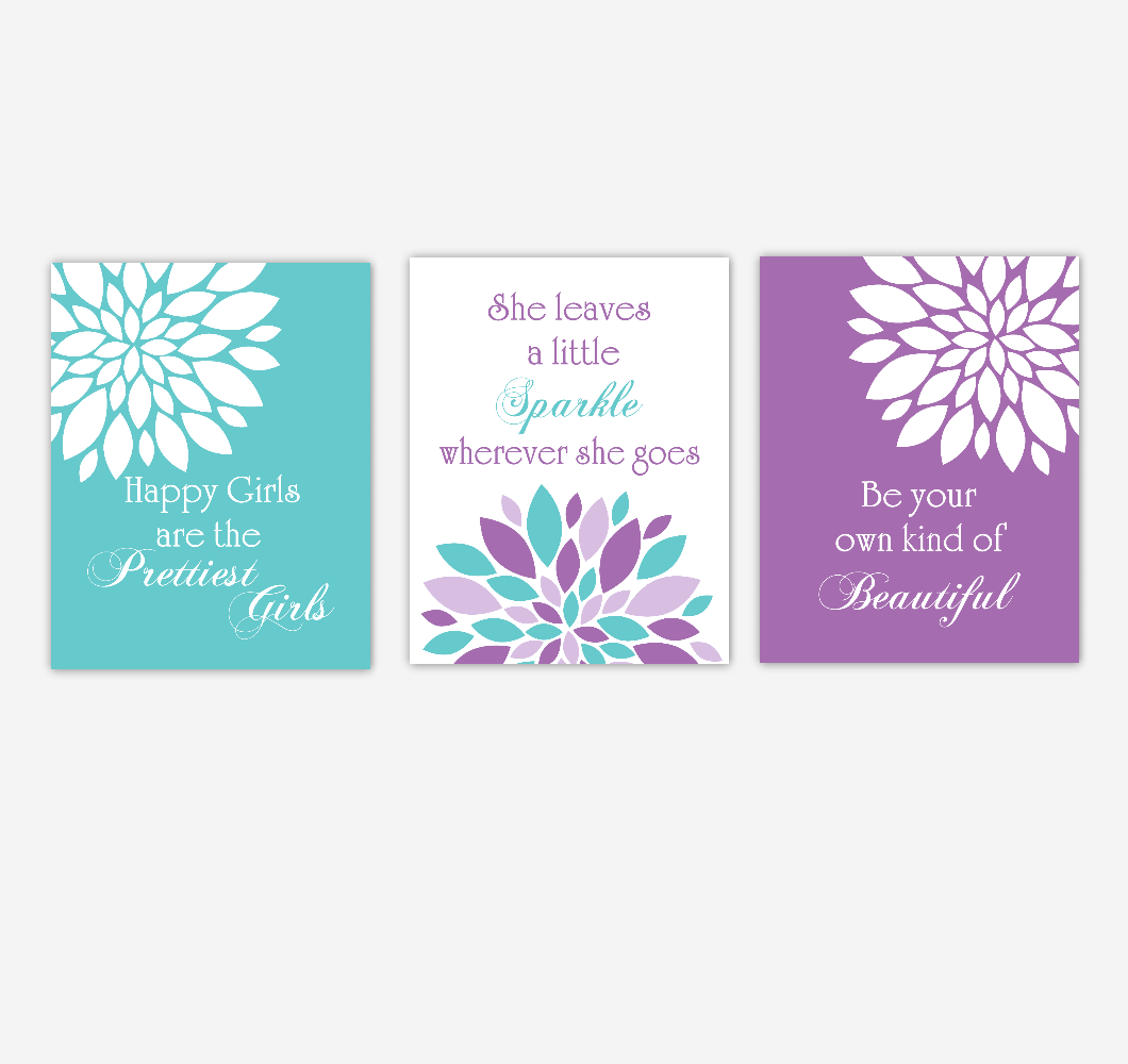 Baby Girl Nursery Wall Art Purple Teal Flower Dahlia Mums Beautiful Prettiest Sparkle Quotes Baby Nursery Decor SET OF 3 UNFRAMED PRINTS