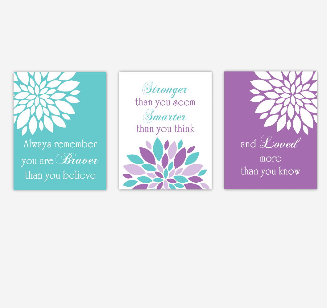 Baby Girl Nursery Wall Art Purple Teal Flower Dahlia Mums Remember You Are Braver Quote Baby Nursery Decor SET OF 3 UNFRAMED PRINTS