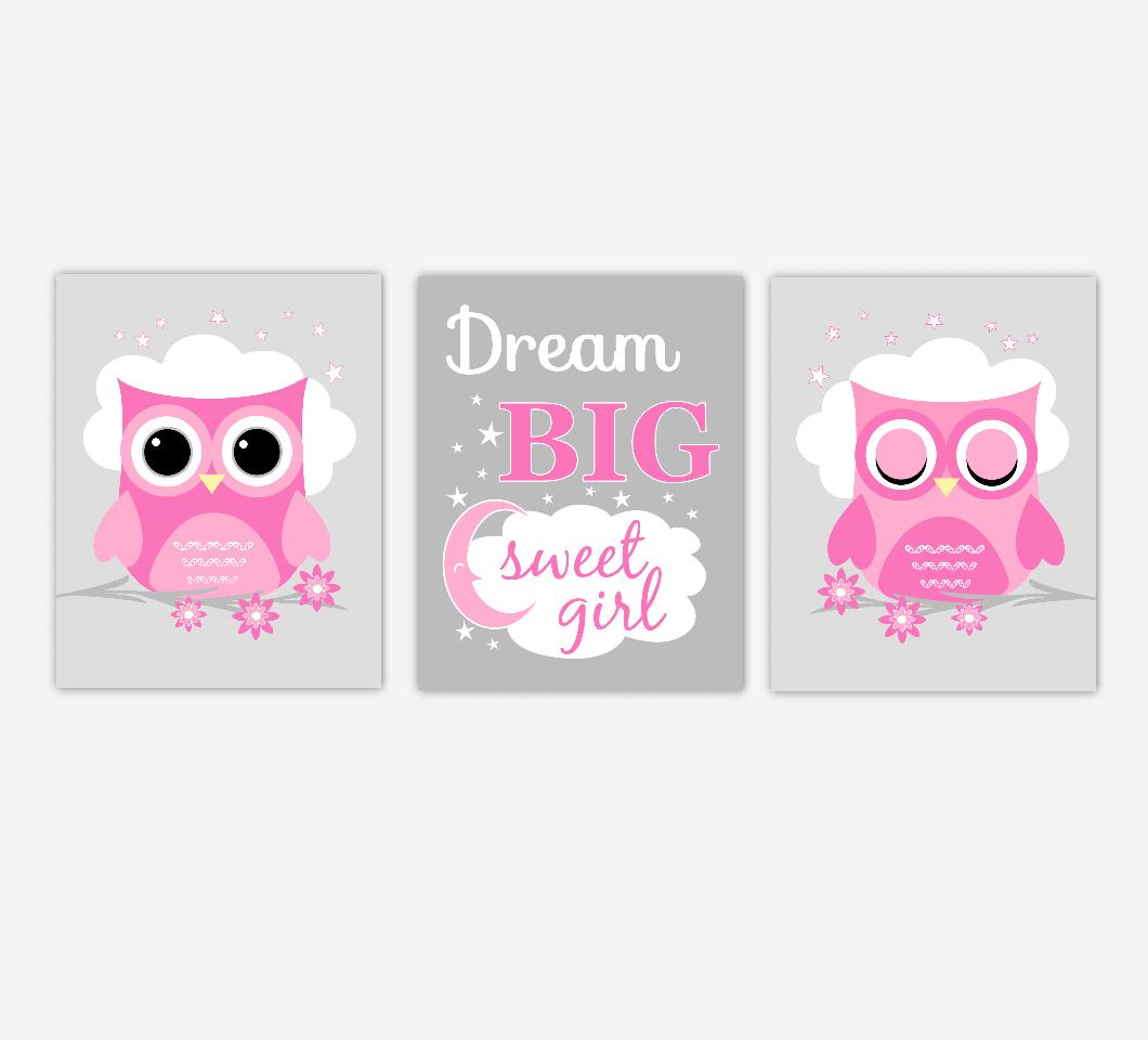 Baby Girl Nursery Wall Art Pink Gray Owls Dream Big Sweet Girl Baby Nursery DecorSET OF 3 UNFRAMED PRINTS