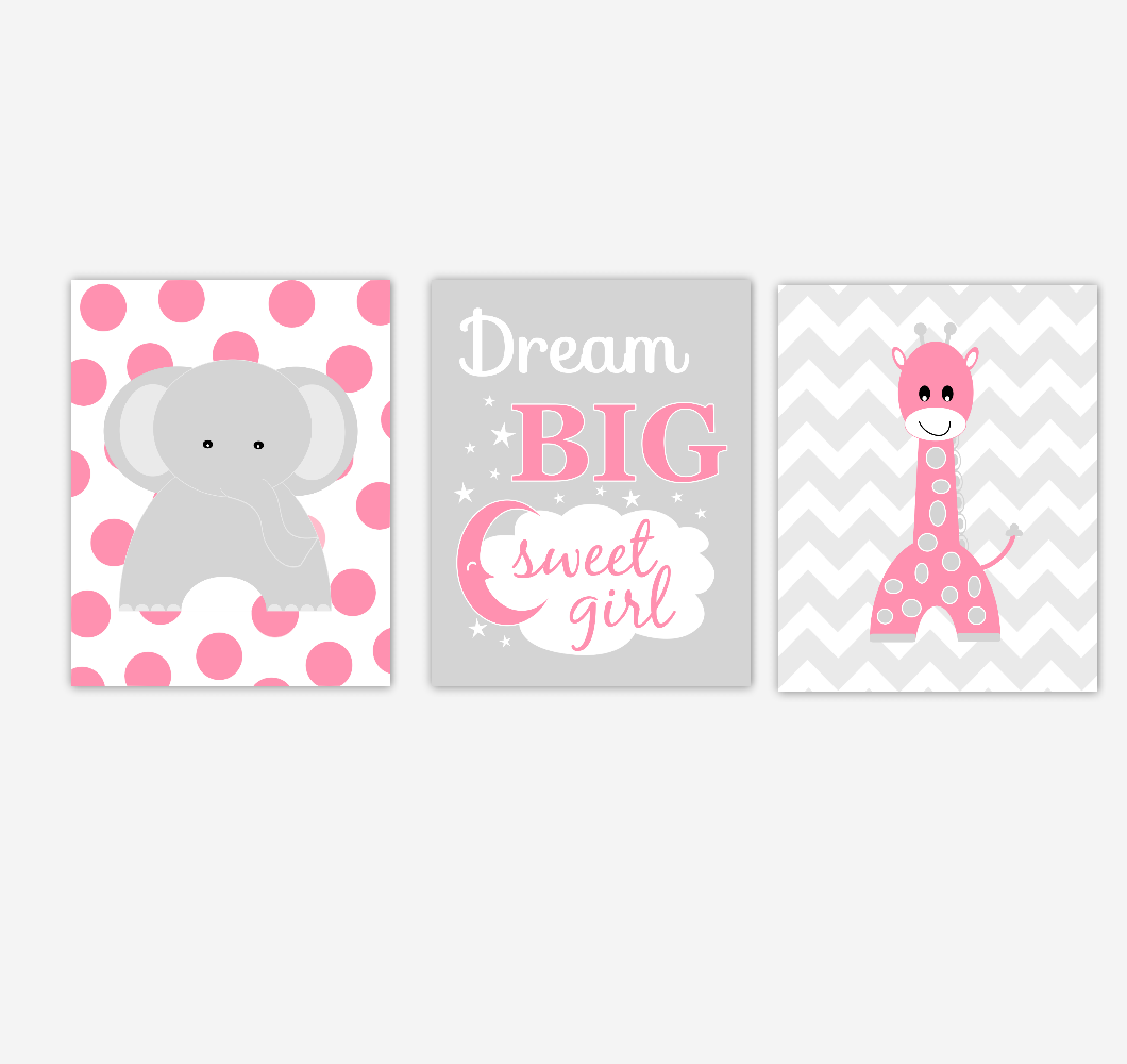 Baby Girl Nursery Wall Art Pink Gray Elephant Giraffe Jungle Safari Zoo Animals Baby Nursery Decor SET OF 3 UNFRAMED PRINTS