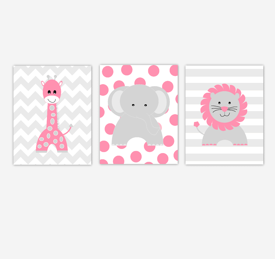 Baby Girl Nursery Wall Art Pink Gray Elephant Giraffe Lion Jungle Safari Zoo Animals Baby Nursery Decor SET OF 3 UNFRAMED PRINTS