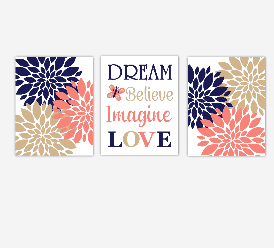 Dahlia Mums Flower Burst Navy Coral Dream Believe Imagine Love Floral Wall Decor Girl Bedroom Prints Baby Nursery Decor SET OF 3 UNFRAMED PRINTS
