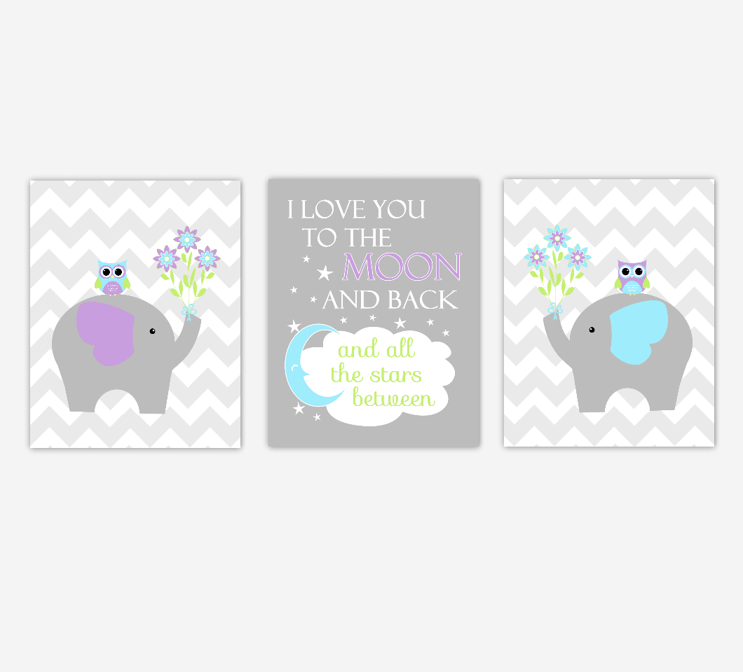 Baby Girl Nursery Art Purple Teal Aqua Elephants Jungle Safari Zoo Animals I Love You To The Moon and Back Baby Nursery Decor SET OF 3 UNFRAMED PRINTS