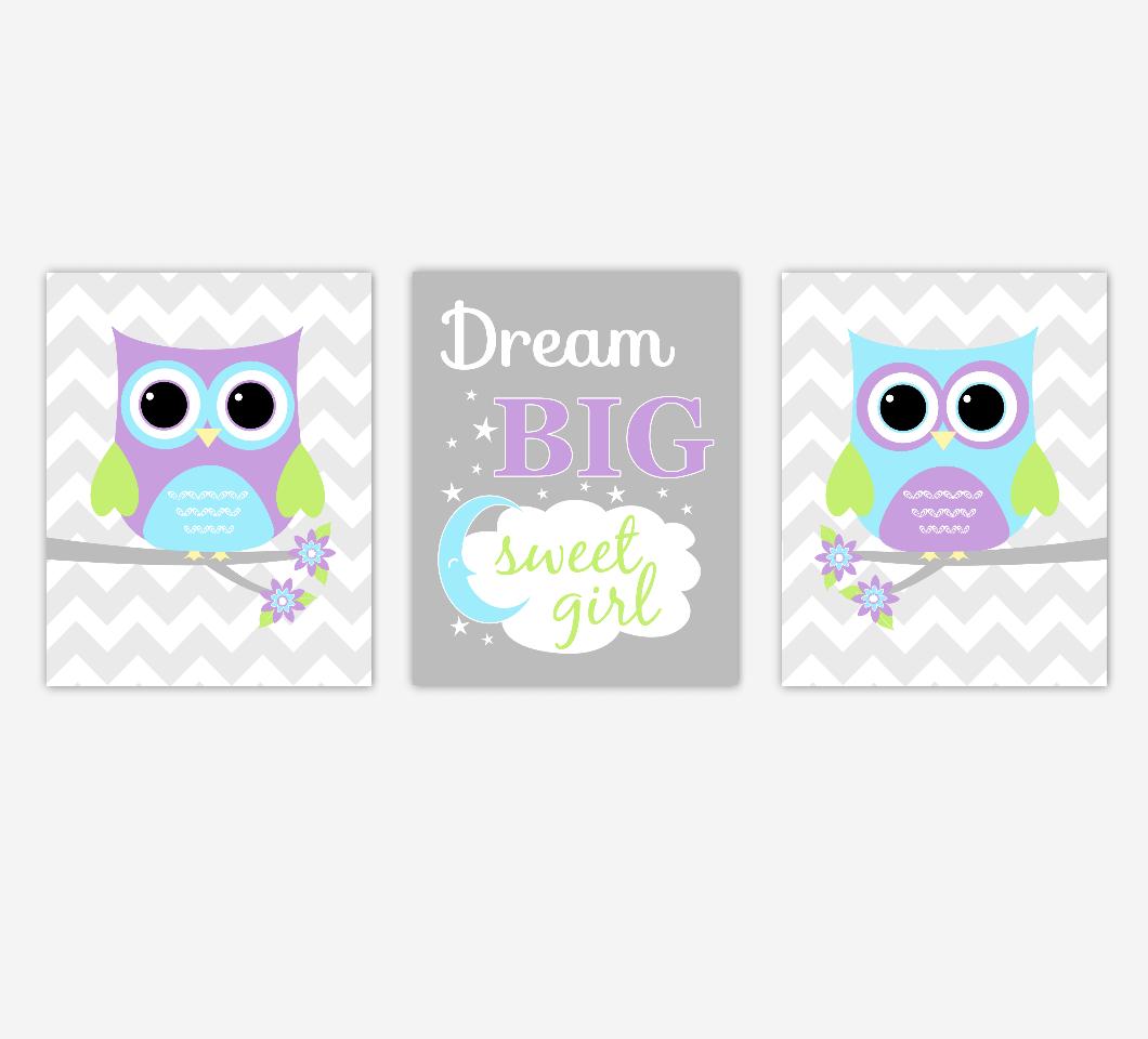 Owl Baby Girl Nursery Art Purple Teal Aqua Dream Big Sweet Girl Baby Nursery Decor SET OF 3 UNFRAMED PRINTS