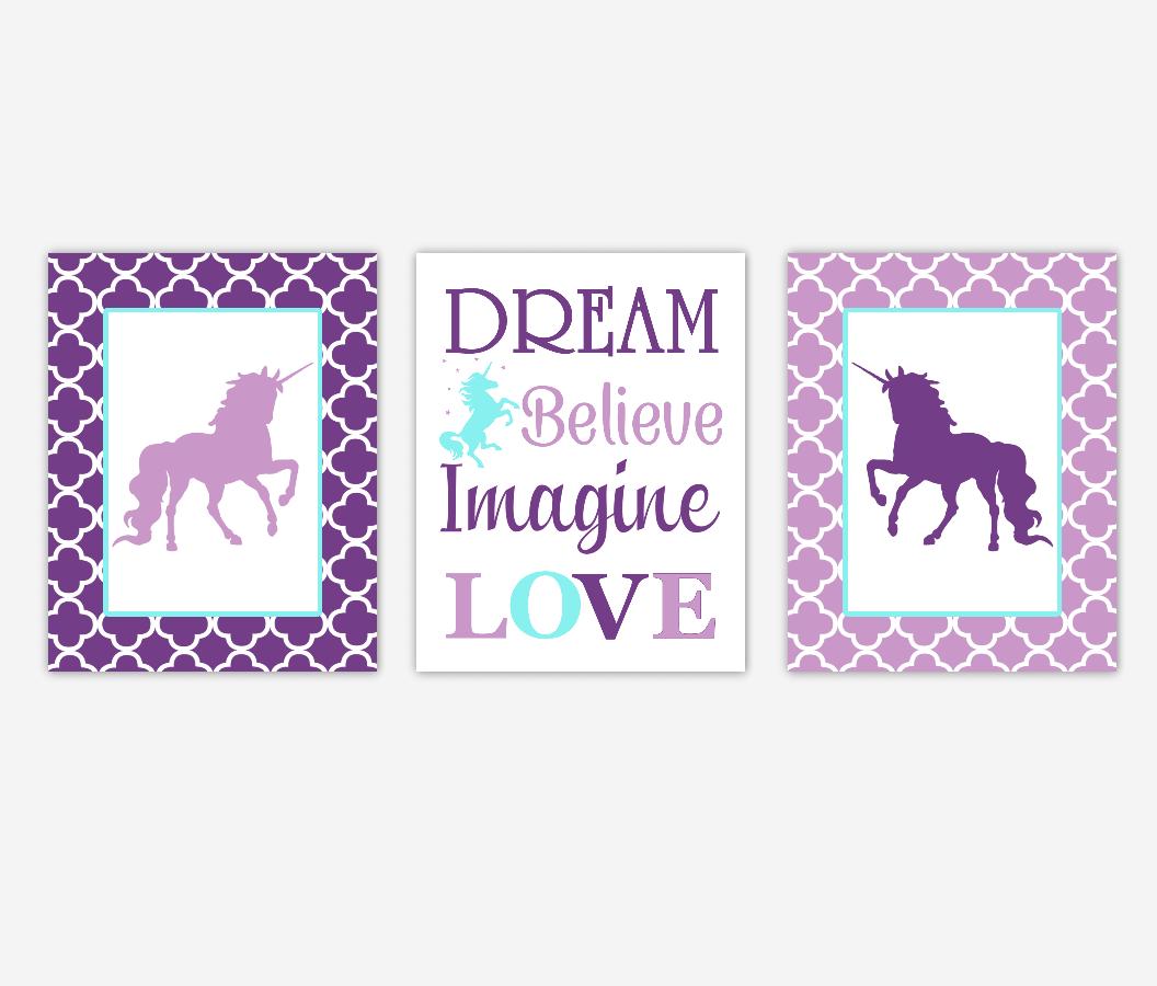 Unicorn Baby Girl Nursery Art Purple Aqua Teal Dream Believe Imagine LOVE Baby Nursery Decor Girl Bedroom Inspirational Quotes SET OF 3 UNFRAMED PRINTS