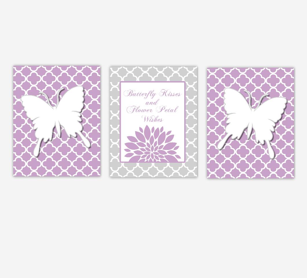 Butterfly Baby Girl Nursery Wall Art Purple Gray Butterfly Kisses Flower Petal Wishes Dahlia Mums SET OF 3 UNFRAMED PRINTS