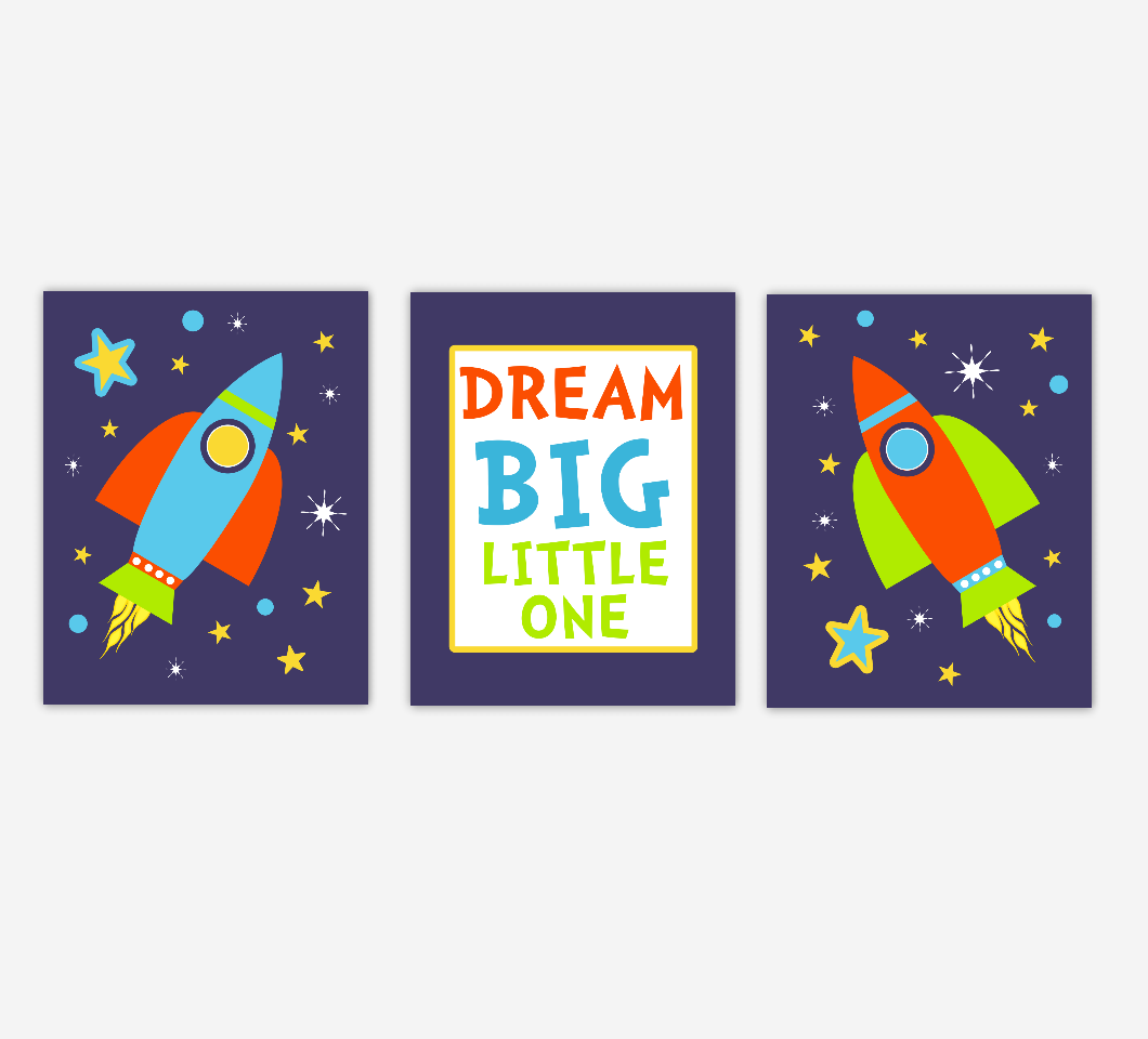 SPACE Baby Boy Nursery Wall Art Spaceship Rocket Stars Dream Big Little One Baby Nursery Decor Boy Room SET OF 3 UNFRAMED PRINTS
