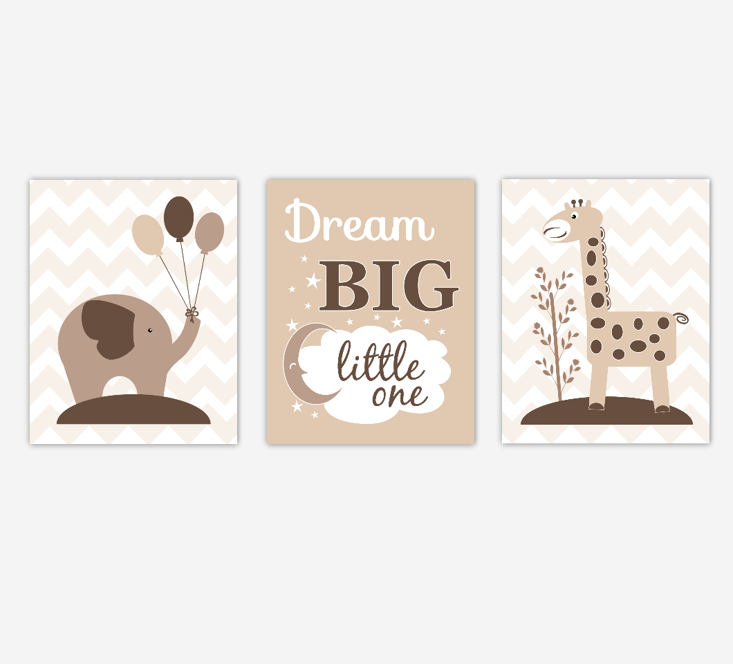 Baby Nursery Wall Art Brown Beige Tan Elephant Giraffe Jungle Safari Zoo Animals Gender Neutral Dream Big Baby Nursery Decor SET OF 3 UNFRAMED PRINTS