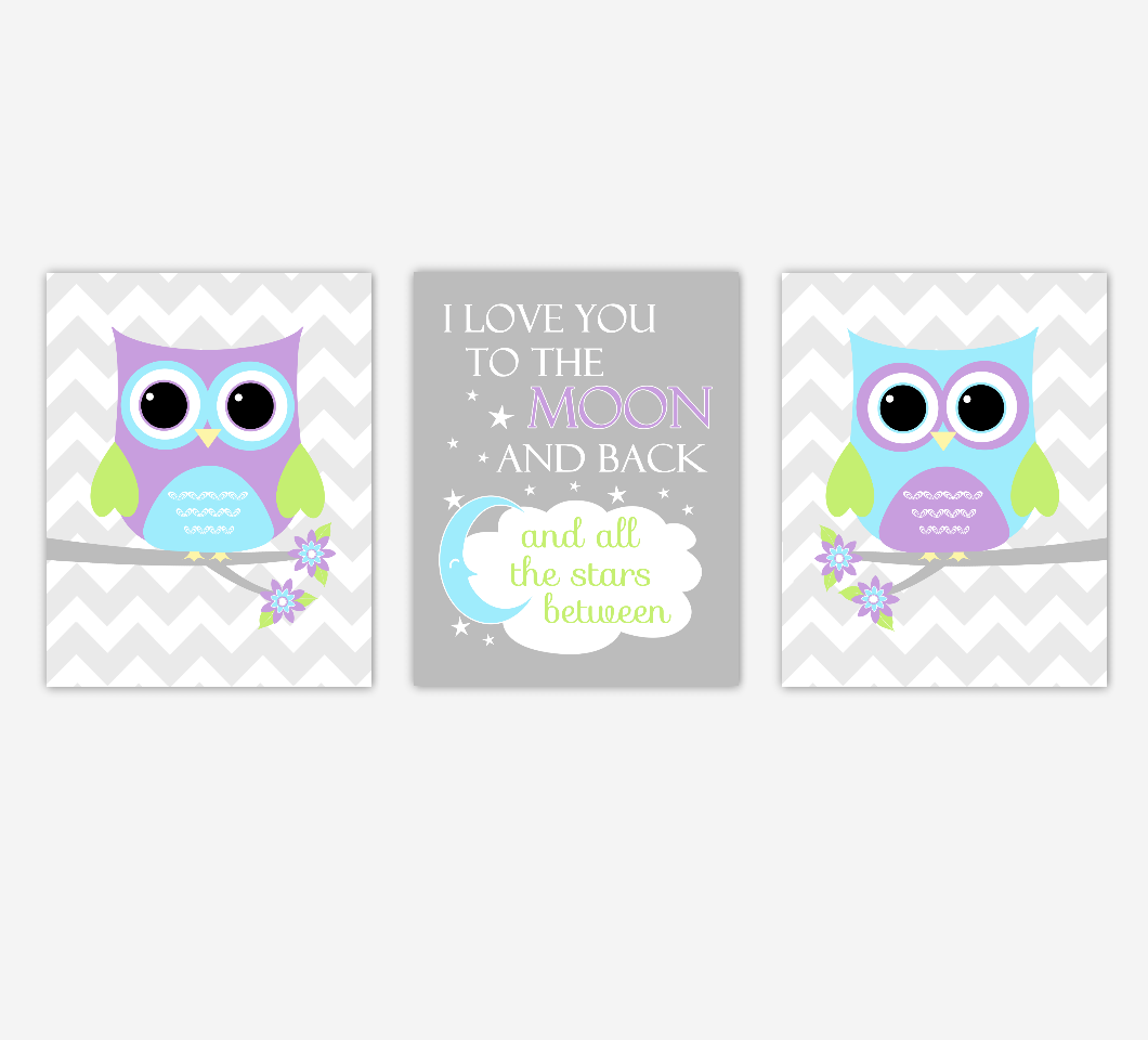 Baby Girl Nursery Art Purple Teal Aqua Lime Green Owls I Love You To The Moon and Back Safari Jungle Baby Nursery Decor SET OF 3 UNFRAMED PRINTS