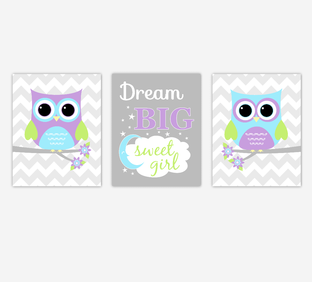 Baby Girl Nursery Art Purple Teal Aqua Owls Dream Big Sweet Girl Safari Jungle Baby Nursery Decor SET OF 3 UNFRAMED PRINTS
