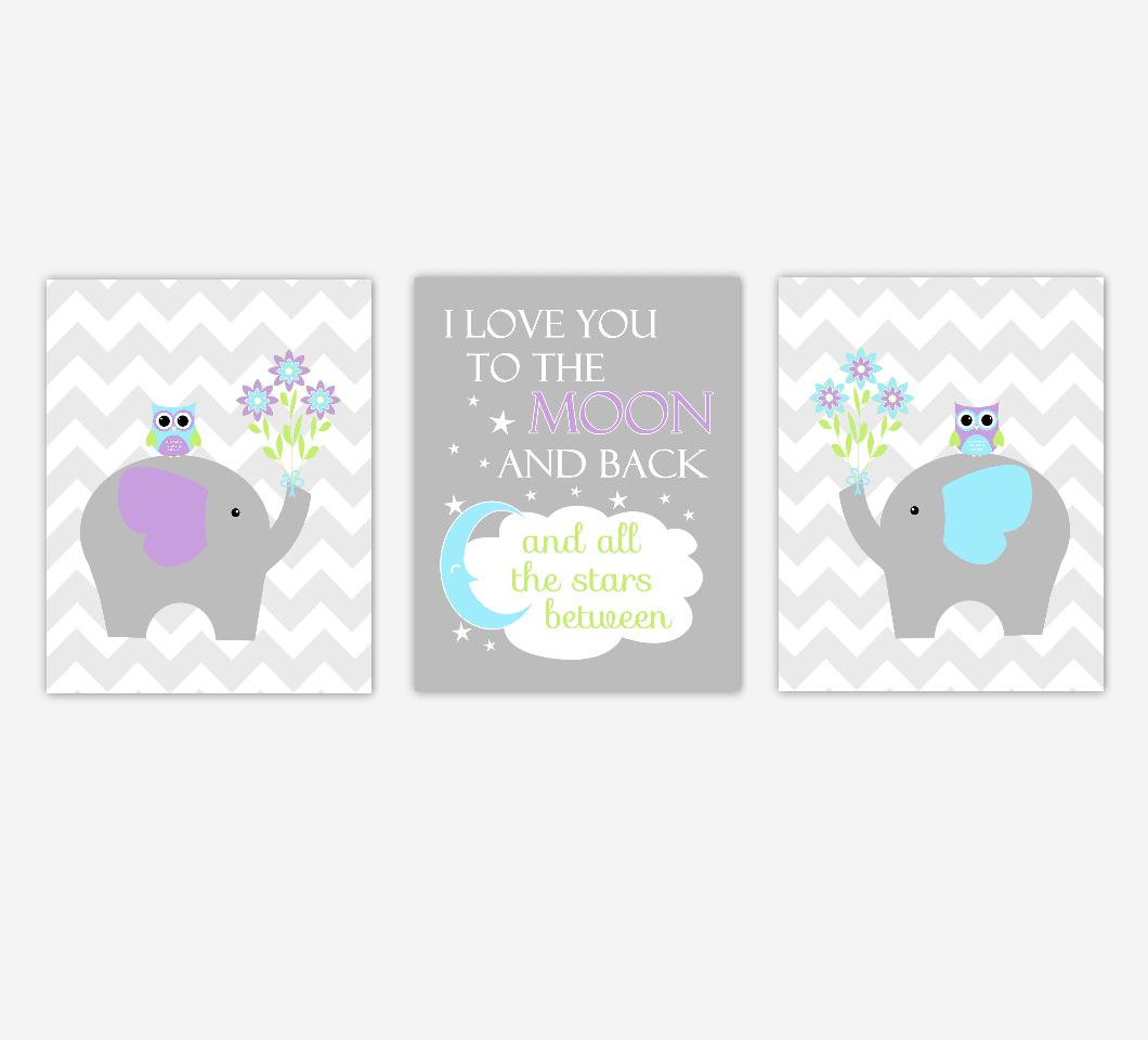 Baby Girl Nursery Art Purple Teal Aqua Elephant Owls I Love You To The Moon And Back Baby Nursery Decor   SET OF 3 UNFRAMED PRINTS