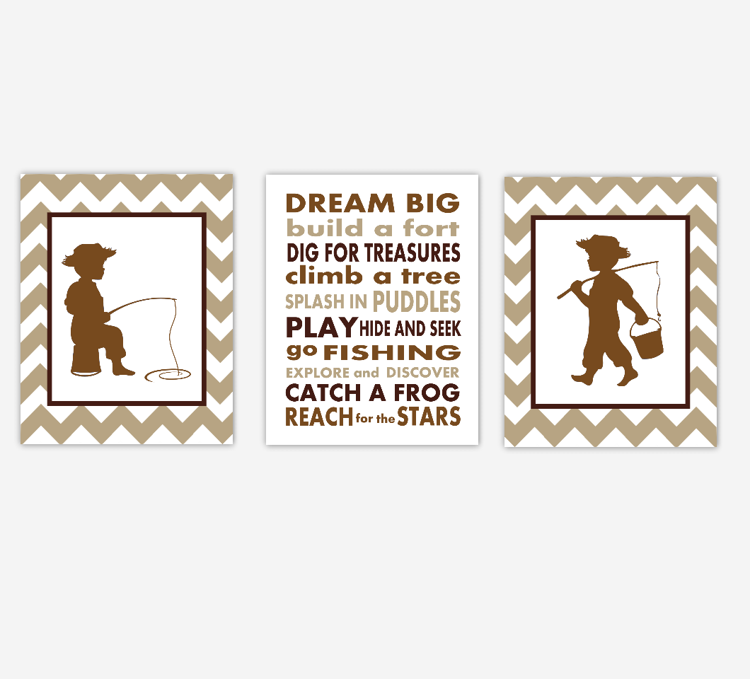 Fishing Baby Boy Nursery Wall Art Brown Beige Tan Sepia Boy Fisher Dream Big Toddler Baby Nursery Decor SET OF 3 UNFRAMED PRINTS