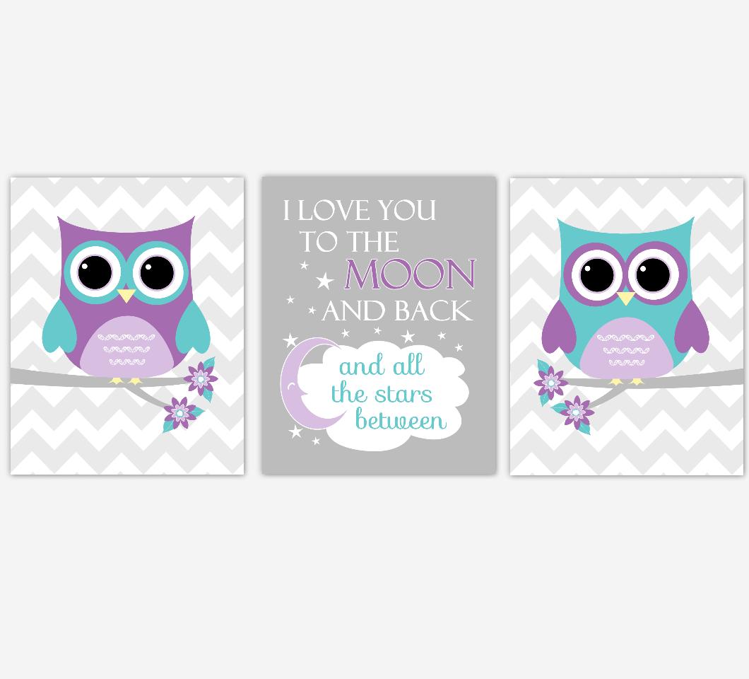 Baby Girl Nursery Wall Art Purple Teal Aqua Lavender Owls Birds Baby Nursery Decor SET OF 3 UNFRAMED PRINTS