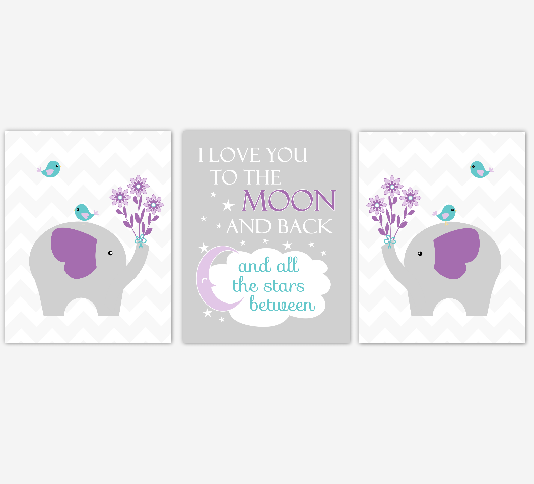 Baby Girl Nursery Wall Art Purple Teal Aqua Elephant Safari Jungle Zoo Animals Baby Nursery Decor SET OF 3 UNFRAMED PRINTS