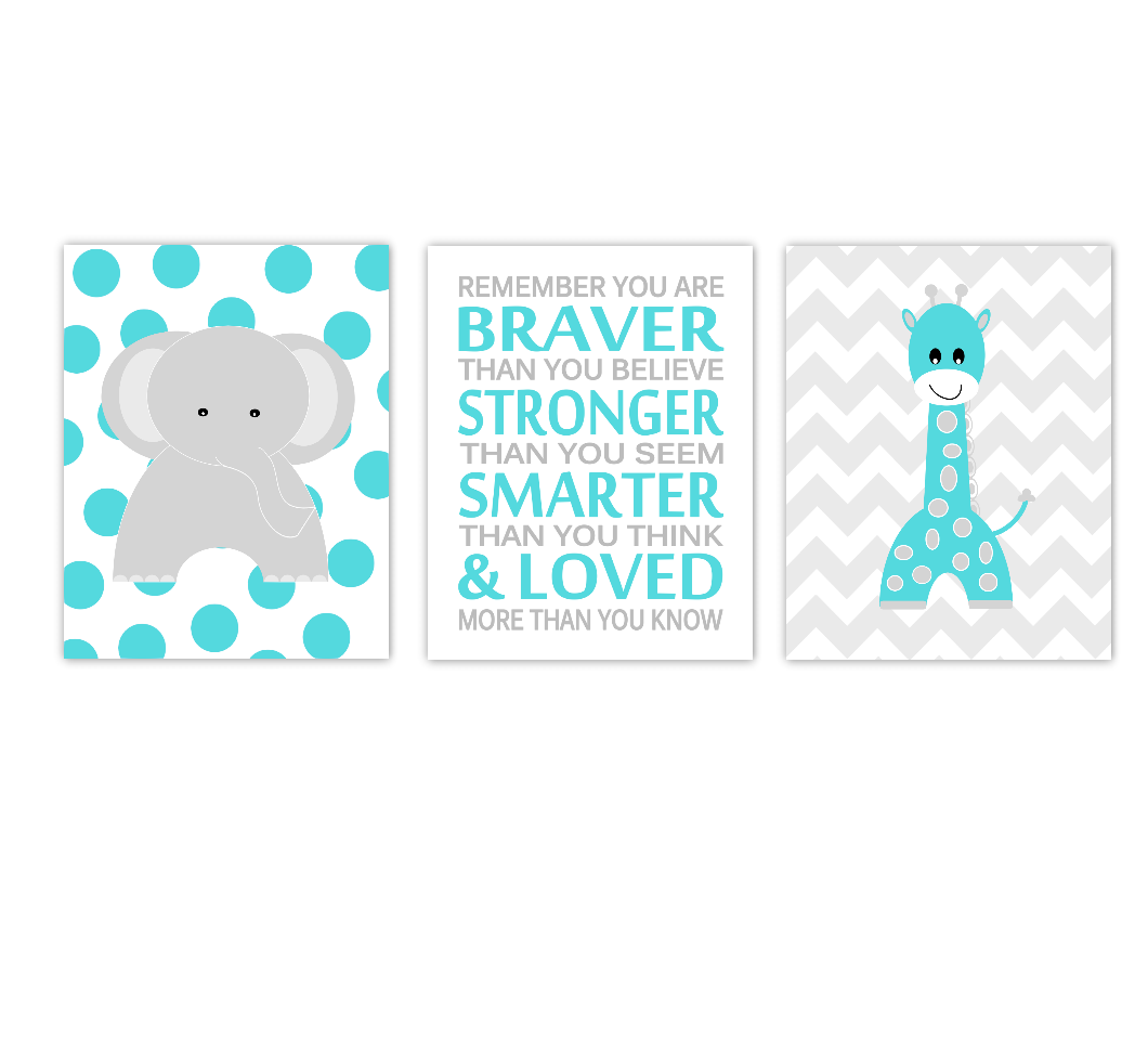Baby Nursery Wall Art Teal Aqua Gray Grey Elephant Giraffe Gender Neutral Boy Girl Safari Jungle Zoo Animals Baby Nursery Decor SET OF 3 UNFRAMED PRINTS
