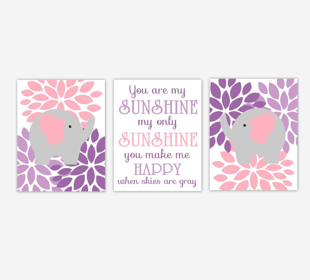 Pink Baby Girl Nursery Wall Art Purple Lavender Elephant Flower Dahlia Mums Floral Burst You Are My Sunshine Baby Nursery Decor SET OF 3 UNFRAMED PRINTS
