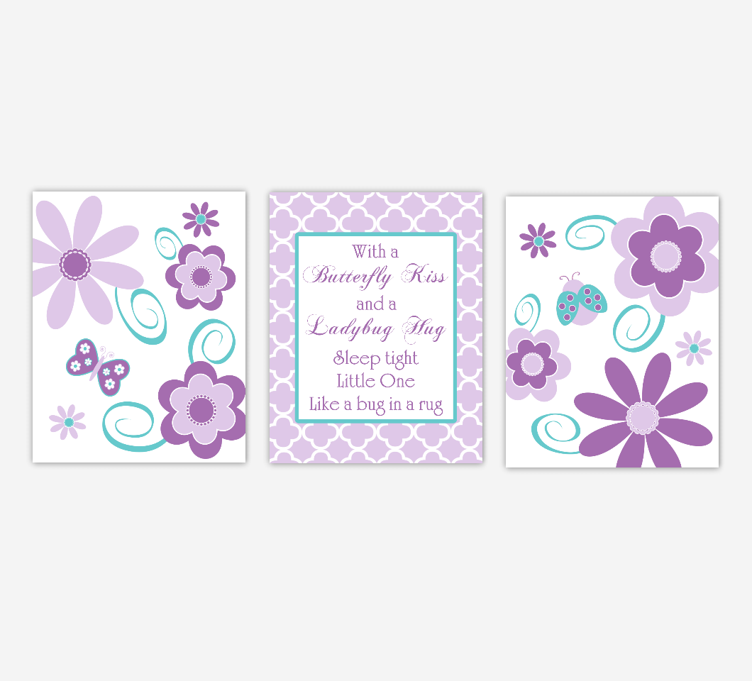 Baby Girl Nursery Wall Art Purple Teal Aqua Lavender Butterfly Ladybug Flowers Floral Daisies Kisses Hugs Baby Nursery Decor SET OF 3 UNFRAMED PRINTS