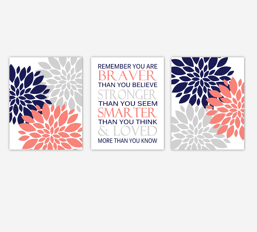 Coral Baby Girl Nursery Art Navy Blue Gray Flowers Dahlia Mums Floral Bursts Remember You Are Braver Quote Baby Nursery Decor SET OF 3 UNFRAMED PRINTS