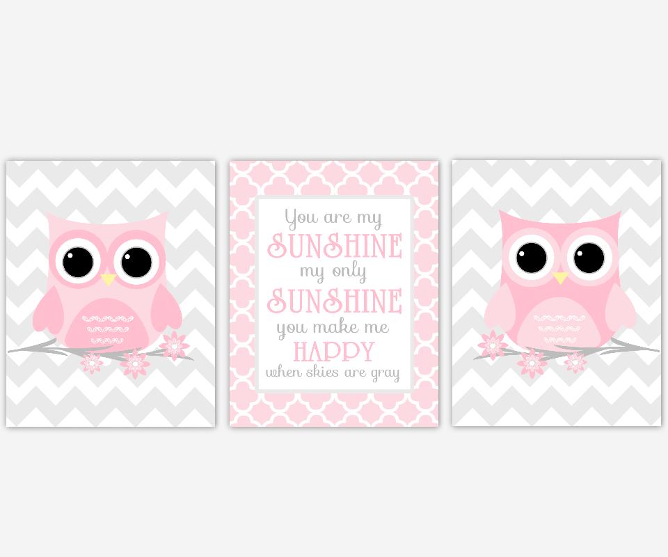 Pink Gray Baby Girl Nursery Art Owls You Are My Sunshine Chevron Baby Nursery Decor Flower Floral Nursery Art