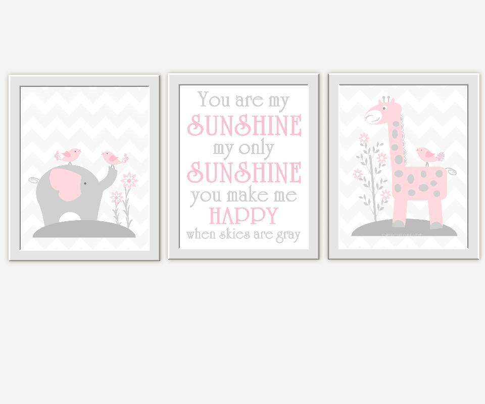 Baby Girl Nursery Wall Art Gray Pink Grey Elephant Giraffe Safari Jungle Animals You Are My Sunshine Songs for Baby Nursery Decor for Girls Room Prints