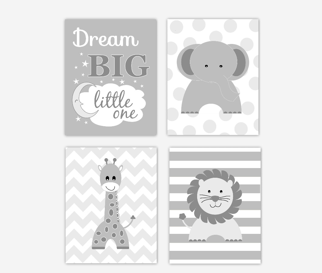 Baby Boy Nursery Wall Art Gray Elephant Giraffe Lion Dream Big Little One Baby Nursery Decor Jungle Safari Zoo Animals