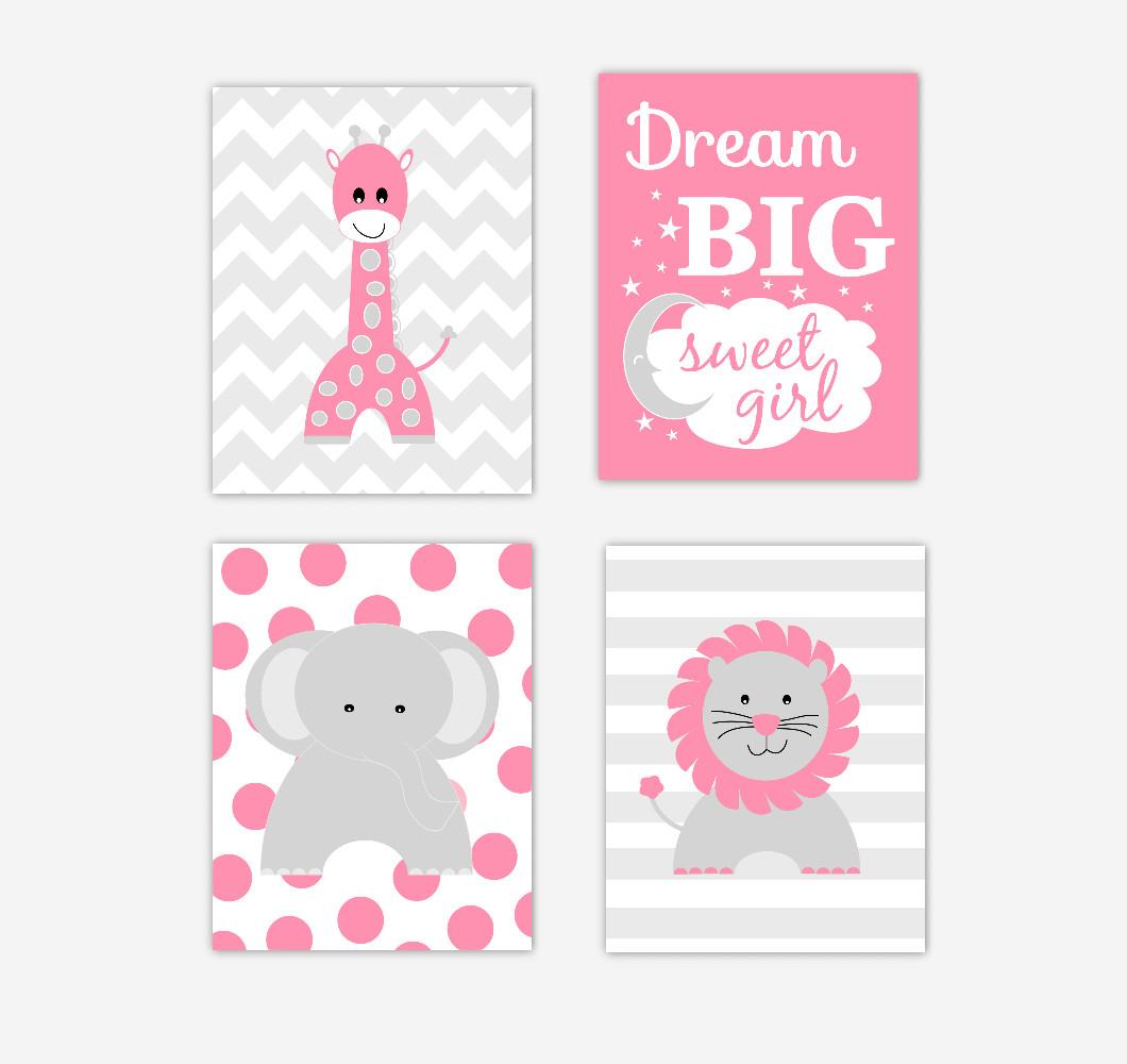 Pink Safari Animals Baby Girl Nursery Wall Art Pink Gray Elephant Giraffe Lion Dream Big Sweet Girl Jungle Safari Zoo Animals Baby Nursery Decor