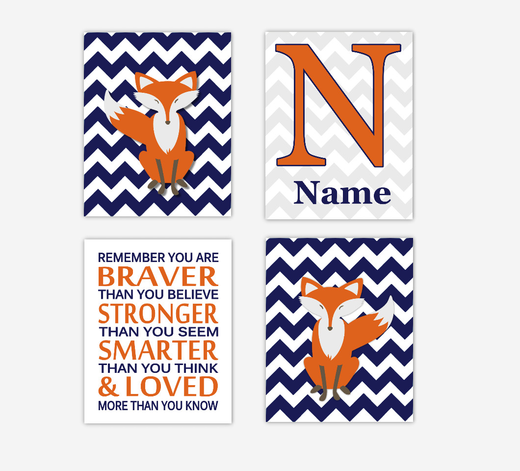 Baby Boy Nursery Decor Art Fox Navy Blue Orange Personalized Prints Remember You Are Braver 4 PRINTS or CANVAS