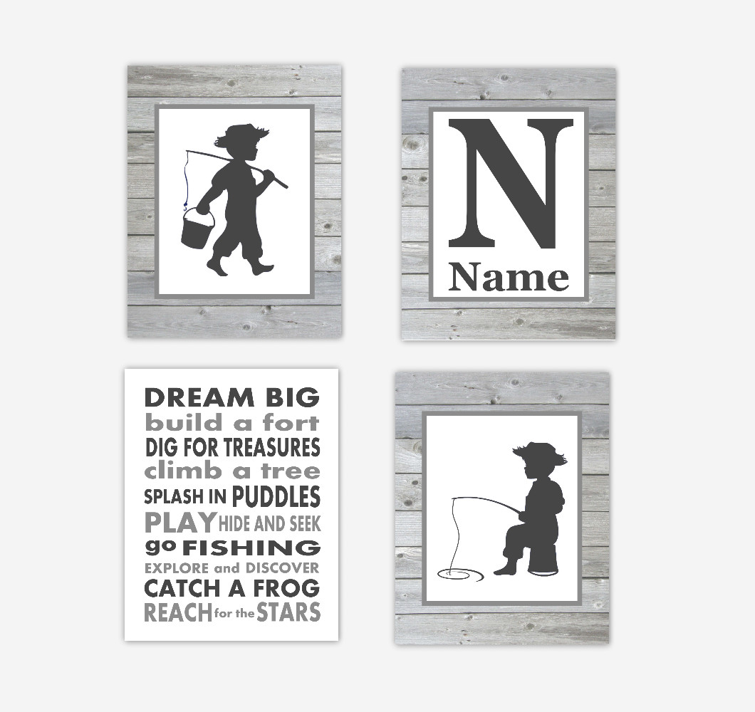 Baby Boy Nursery Artwork Fishing Wood Rustic Farmhouse Style Personalized Dream Big Quotes Toddler Boy Bedroom Decor Baby Nursery Prints