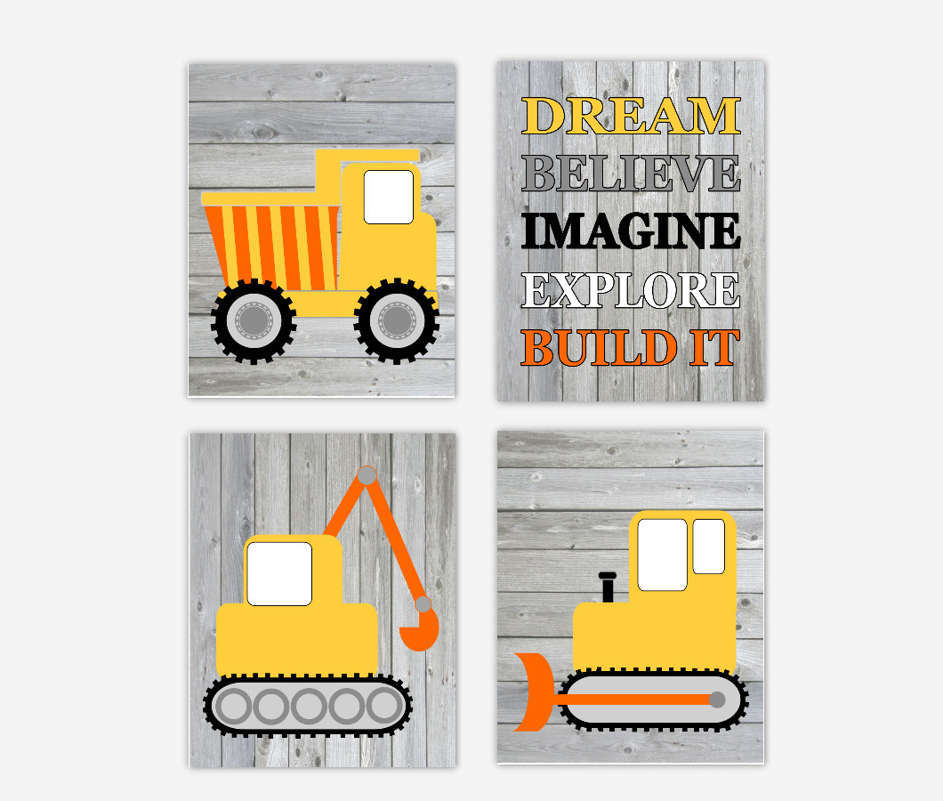Construction Trucks Baby Boy Nursery Art Toddler Bedroon Playroom Art Baby Nursery Decor SET OF 4 UNFRAMED PRINTS